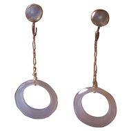 Art Deco Flapper Chalcedony Drop Earrings