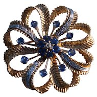 Retro Modern 14k Brooch With Sapphires And Diamonds