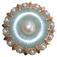 Retro Moderne 14k Jade And Pearl Pin