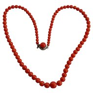 Dark Salmon Coral Bead Necklace