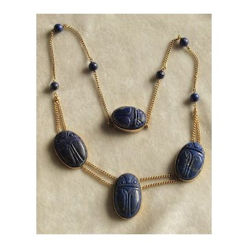 1920's Egyptian Revival Lapis Lazuli Scarab Necklace