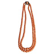Light Salmon Double Strand Natural Coral Necklace