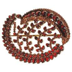 Large Unusual Design Bohemian Garnet Brooch