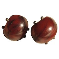 1920's Dark Cherry Amber Earrrings Wonderful Design