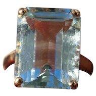 Large Aquamarine Ring, Very Retro!