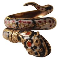 Sizzling Enameled Snake Ring