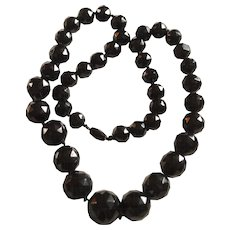 Victorian Whitby Jet Faceted Bead Necklace