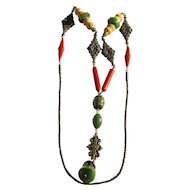 Very Unusual Flapper Necklace With Mixed Components