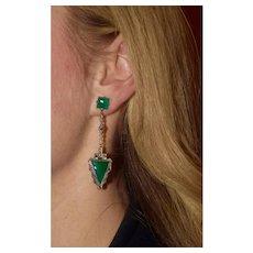 Art Deco Dangling Chrysoprase Arrow Earrings
