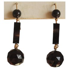Victorian Faceted Black Onyx Dangle Earrings