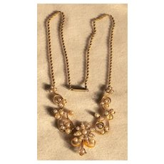 Victorian Gold Seed Pearl Lavaliere Necklace And Matching Pin