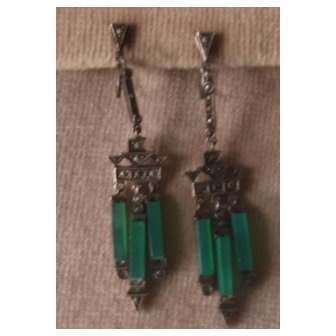 Art Deco Chrysoprase Marcasite Dangle Earrings