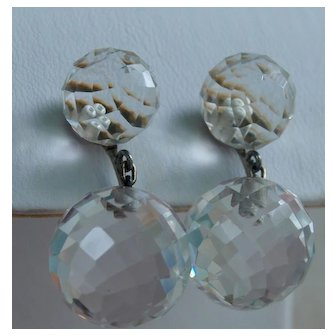 14k White gold Faceted Rock Crystal Earrings