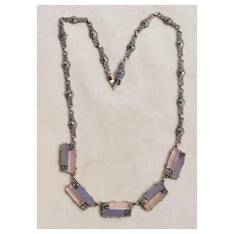 Art Deco Germany Chalcedony Rose Quartz Sterling Necklace