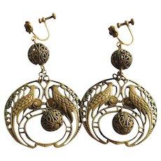 CD Peacock Art Deco Flapper Dangle Earrings