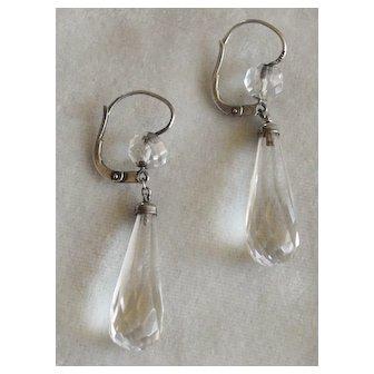 Dangling Faceted Rock Crystal Earrings