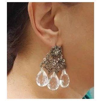 Georgian Silver Paste Girandole Earrings