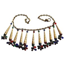Miriam Haskell Red Green Blue Dangle Necklace, A Real Statement!
