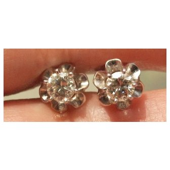 50pt Diamond Solitaire Stud Earrings in 14k White Gold