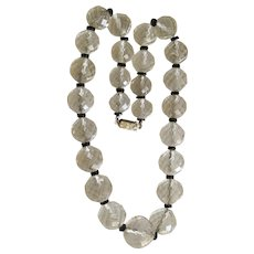 Art Deco Rock Crystal And Onyx Beaded Necklace