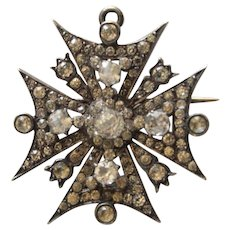 Victorian Silver Paste Maltese Cross Brooch Pendant