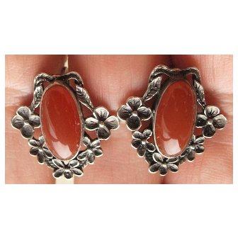 Art Nouveau Carnelian Sterling Earrings