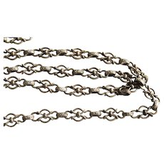 Victorian French Long Chain in Silver, Very Fancy!