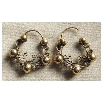 Handmade Vintage Oaxacan Filigree Hoop earrings