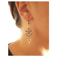 Art Nouveau Sterling Dangle Earrings
