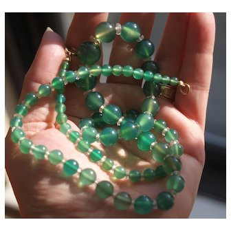 1920's Chrysoprase and Rock Crystal Beaded Necklace