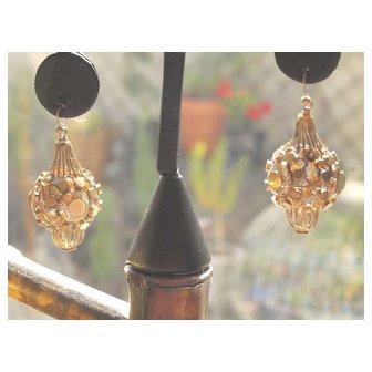 18th Century Italian Filigree Bombe Earrings