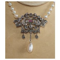 Edwardian Rose Cut Diamond , Pearl and Ruby Necklace