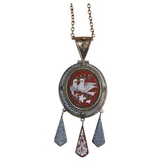 Grand Tour Micro Mosaic Doves Pendant