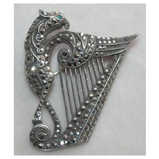 Marcasite Griffin And Harp Brooch In Silver