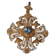 Large 14k Gold Maltese Cross Filigree Pendant