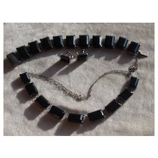 Japanese Mid Century Sterling Obsidian Necklace Earrings And Bracelet Set