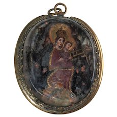 17th Century Christian Hand Painted Pendant Under Glass