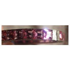 Art Deco Pink Paste Channel Set Sterling Bangle Bracelet