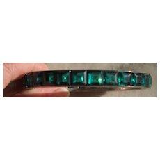 Art Deco Sterling Paste Chanel Set Bracelet in Green