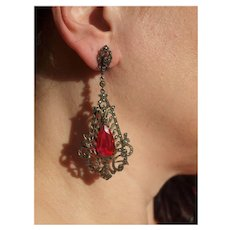 Sublime Huge Art Deco Shoulder Duster Earrings In Sterling And Paste And Marcasites