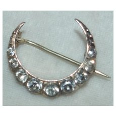 Victorian Sterling Paste Crescent Pin