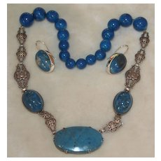 Art Deco Sterling Sodalite Marcasite Necklace And Earring Set