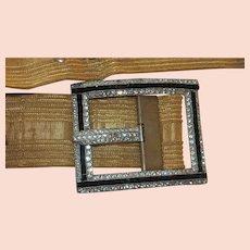 Original Art Deco Mesh Belt with Huge Paste Buckle Pomerantz NY