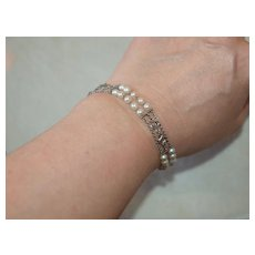 Ornate 1920's Platinum and Pearl Chain Bracelet