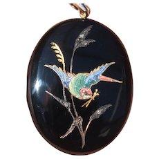 Extraordinary Victorian Onyx and Diamond Enamel Locket With Swallow