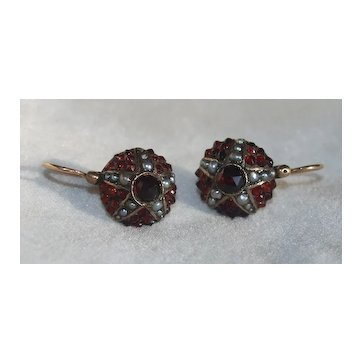 Victorian Garnet And Pearl Dormeuse Earrings