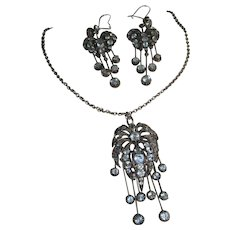French  Silver Paste Pendant And Earring Set