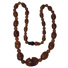 Art Deco Natural Amber Bead Necklace