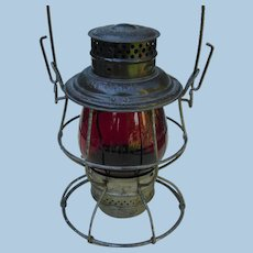 Antique Boston & Maine Railroad Red Etched Tall Globe Adlake Reliable Lantern B&MRR Railway