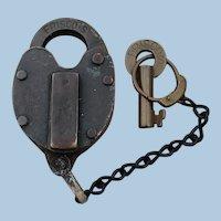 "Superb St. Louis-San Francisco ""FRISCO"" Railway Railroad Brass Lock & Key Set"